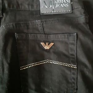 Armani Jeans straight leg black jeans